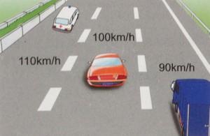 Drei Spuren Geschwindigkeiten